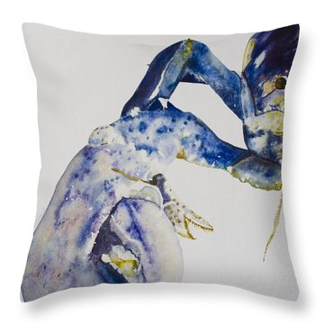 Maine Blue Lobster Throw Pillow by Kellie Chasse