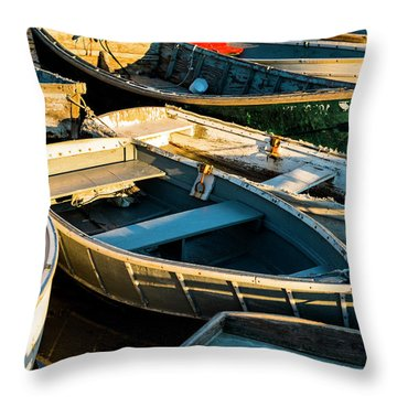 Maine Boats At Sunset Throw Pillow