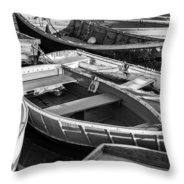 Maine Boats Throw Pillow by Ranjay Mitra