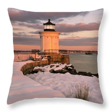 Throw Pillow featuring the photograph Maine Bug Light Lighthouse Snow At Sunset by Ranjay Mitra