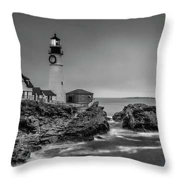 Maine Cape Elizabeth Lighthouse Aka Portland Headlight In Bw Throw Pillow by Ranjay Mitra