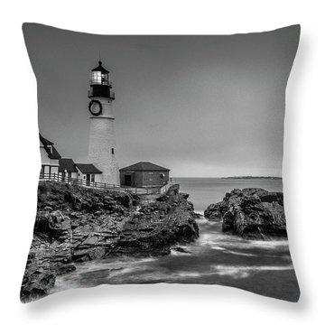 Maine Cape Elizabeth Lighthouse Aka Portland Headlight In Bw Throw Pillow