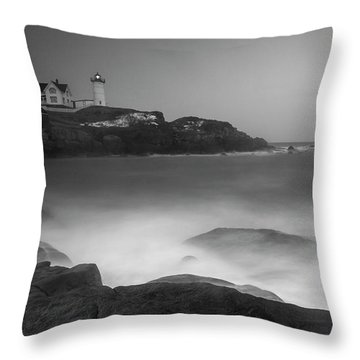 Throw Pillow featuring the photograph Maine Cape Neddick Lighthouse And Rocky Coastal Waves Bw by Ranjay Mitra