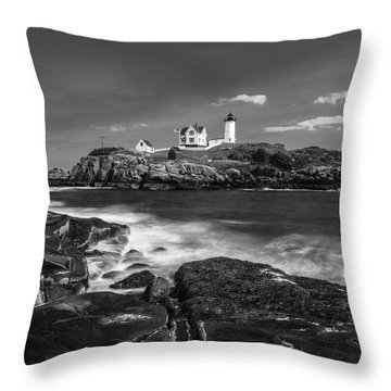Maine Cape Neddick Lighthouse In Bw Throw Pillow by Ranjay Mitra