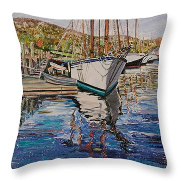 Maine Coast Boat Reflections Throw Pillow by Richard Nowak