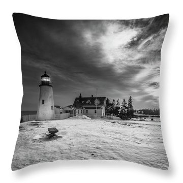 Maine Coastal Storm Over Pemaquid Lighthouse Throw Pillow by Ranjay Mitra