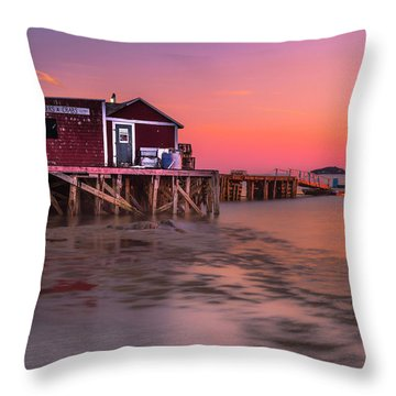 Throw Pillow featuring the photograph Maine Coastal Sunset At Dicks Lobsters - Crabs Shack by Ranjay Mitra