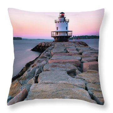 Maine Coastal Sunset Over The Spring Breakwater Lighthouse Throw Pillow