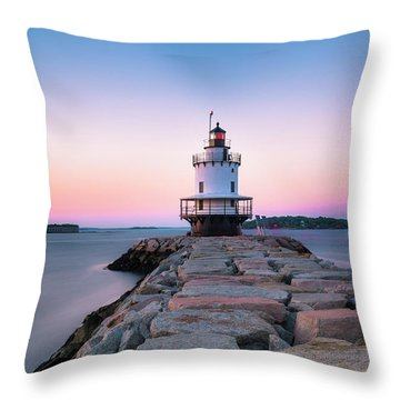 Throw Pillow featuring the photograph Maine Coastal Sunset Over The Spring Breakwater Lighthouse by Ranjay Mitra