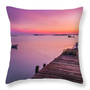 Throw Pillow featuring the photograph Maine Cooks Corner Lobster Shack At Sunset by Ranjay Mitra