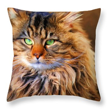 Maine Coon Cat Throw Pillow