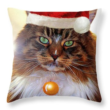 Throw Pillow featuring the photograph Maine Coon Xmas by Roger Bester