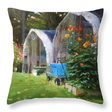 Maine Dahlias Throw Pillow