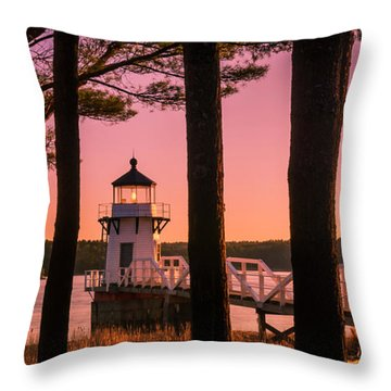 Throw Pillow featuring the photograph Maine Doubling Point Lighthouse At Sunset Panorama by Ranjay Mitra