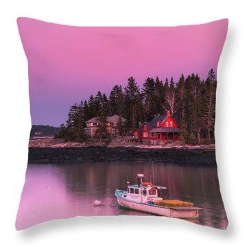 Maine Five Islands Coastal Sunset Throw Pillow
