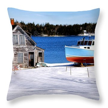Throw Pillow featuring the photograph Maine Harbor Winter Scene by Olivier Le Queinec