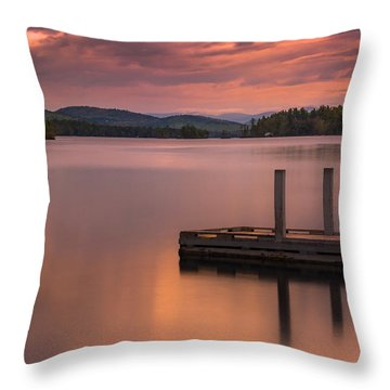 Throw Pillow featuring the photograph Maine Highland Lake Boat Ramp At Sunset by Ranjay Mitra