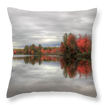 Maine Lake In Autumn Throw Pillow