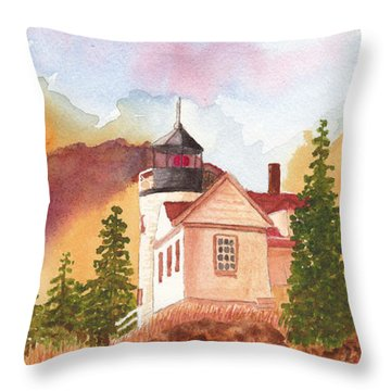 Maine Lighthouse In Morning Light Throw Pillow