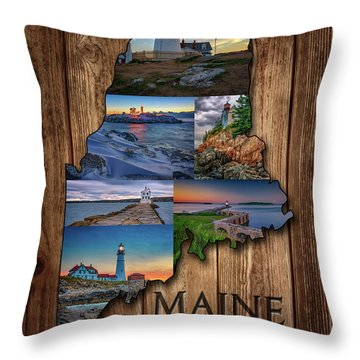 Maine Lighthouses Collage Throw Pillow
