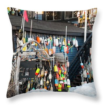 Maine Lobster Shack In Winter Throw Pillow