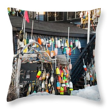 Throw Pillow featuring the photograph Maine Lobster Shack In Winter by Ranjay Mitra
