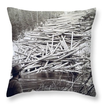 Maine Logging -  C 1903 Throw Pillow by International  Images