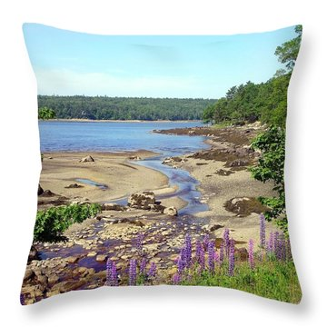 Maine Lupines Throw Pillow