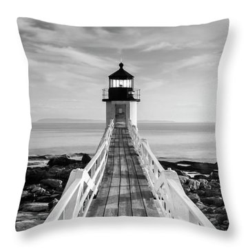 Throw Pillow featuring the photograph Maine Marshall Point Lighthouse Vertical Panorama In Black And White by Ranjay Mitra