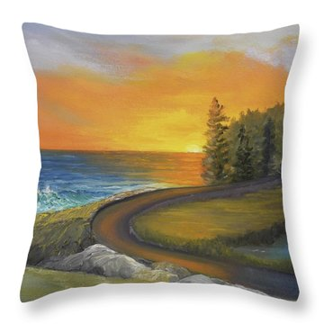 Maine Ocean Sunrise Throw Pillow