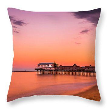 Maine Old Orchard Beach Pier At Sunset Throw Pillow