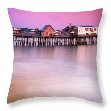 Maine Old Orchard Beach Pier Sunset  Throw Pillow