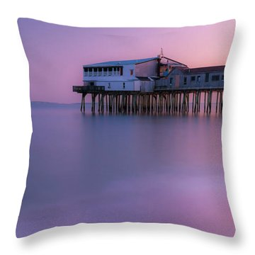 Maine Oob Pier At Sunset Panorama Throw Pillow by Ranjay Mitra