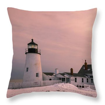 Throw Pillow featuring the photograph Maine Pemaquid Lighthouse After Winter Snow Storm by Ranjay Mitra