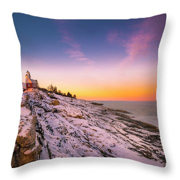 Maine Pemaquid Lighthouse In Winter Snow Throw Pillow