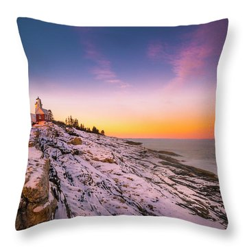 Throw Pillow featuring the photograph Maine Pemaquid Lighthouse In Winter Snow by Ranjay Mitra
