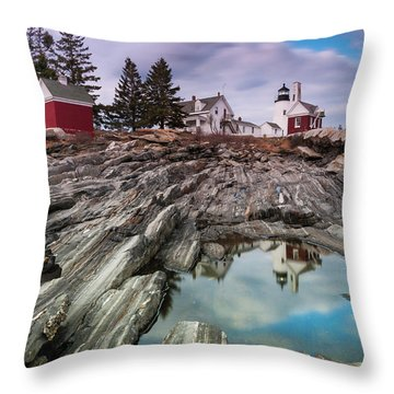 Maine Pemaquid Lighthouse Reflection Throw Pillow by Ranjay Mitra