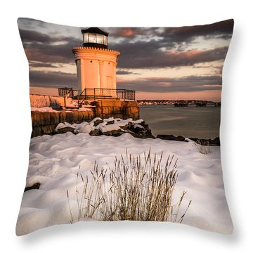 Throw Pillow featuring the photograph Maine Portland Bug Light Lighthouse Sunset  by Ranjay Mitra