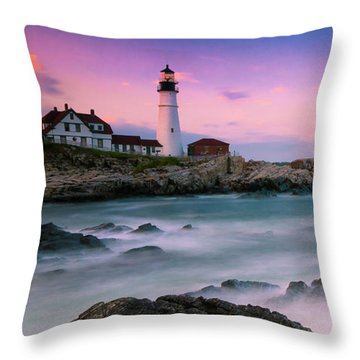 Maine Portland Headlight Lighthouse At Sunset Panorama Throw Pillow by Ranjay Mitra