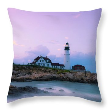 Throw Pillow featuring the photograph Maine Portland Headlight Lighthouse In Blue Hour by Ranjay Mitra