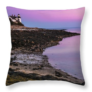 Maine Prospect Harbor Lighthouse Sunset In Winter Throw Pillow