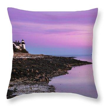 Maine Prospect Harbor Lighthouse Sunset In Winter Throw Pillow