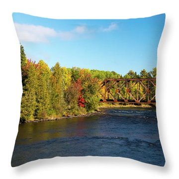 Maine Rail Line Throw Pillow