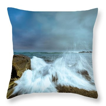 Maine Rocky Coast During Storm At Two Lights Throw Pillow by Ranjay Mitra