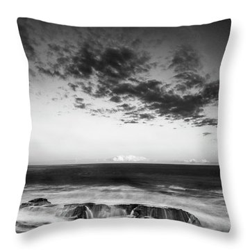 Maine Rocky Coast With Boulders And Clouds At Two Lights Park Throw Pillow by Ranjay Mitra