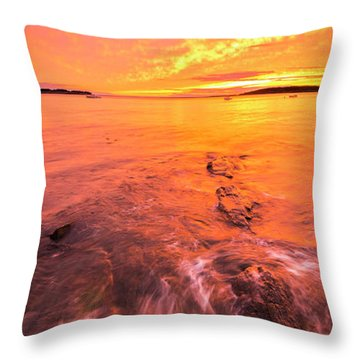 Maine Rocky Coastal Sunset At Kettle Cove Throw Pillow by Ranjay Mitra