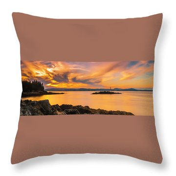 Maine Rocky Coastal Sunset In Penobscot Bay Panorama Throw Pillow by Ranjay Mitra