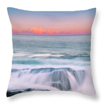 Throw Pillow featuring the photograph Maine Rocky Coastal Sunset Panorama by Ranjay Mitra