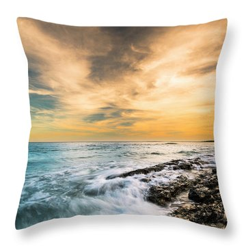 Throw Pillow featuring the photograph Maine Rocky Coastal Sunset by Ranjay Mitra