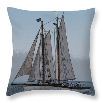 Maine Schooner Throw Pillow